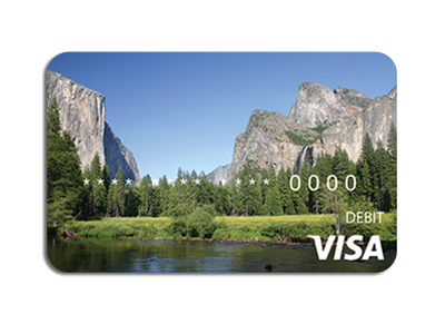 Photo of debit card with Yosemite as the background image.